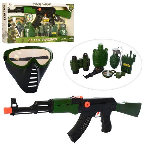 Набор военного M016C (36шт) автомат-трещотка,маска,рация,бинокль,часы,компас,в кор-ке, 53,5-26-5,5см