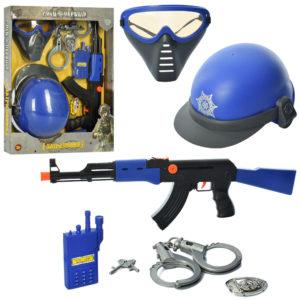 Набор полицейского 33590-33610 (24шт) автомат, каска, маска, наручники, трещотка,2в, в кор,46-37-5см