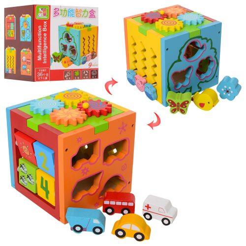 Деревянная игрушка Центр развивающий MD 1311 (18шт) куб,сортер,трещотка,лабиринт,в кор,17-18-16см